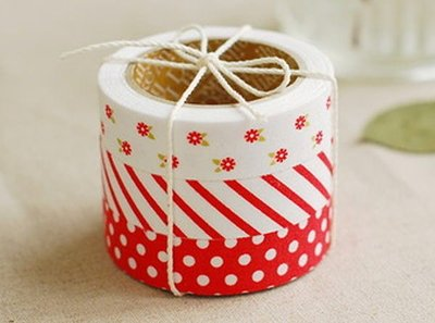 *YOOWOO*A【韓國 Decorate YOUR item 花舞精靈 棉布質 15mm 膠帶貼紙 ~ Red Ribbon 紅緞帶】一組3入