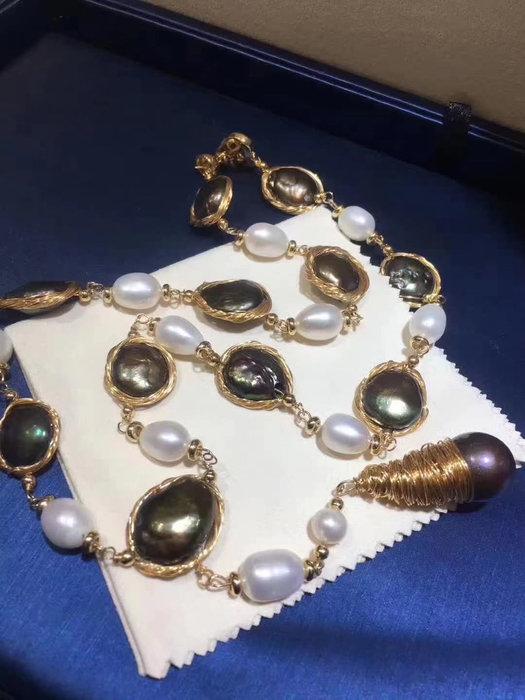 (輕舞飛揚)巴洛克珍珠項鍊,天然珍珠純手工製作,顆粒超大10一15mm左右,誰戴都美!天然珍珠項鍊,愛迪生巴洛克珍珠,太美啦18k包金工藝.隨機