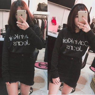 (高雄自取) 保證正品【現貨】 Calvin Klein CK 女款 胸口LOGO 短版 薄鋪棉長袖棉質連帽帽T(黑色)