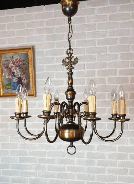【卡卡頌  歐洲古董】法國老件 黃銅雕刻 雙鷹  枝狀吊燈 古董燈  主燈 古典  銅燈 l0318