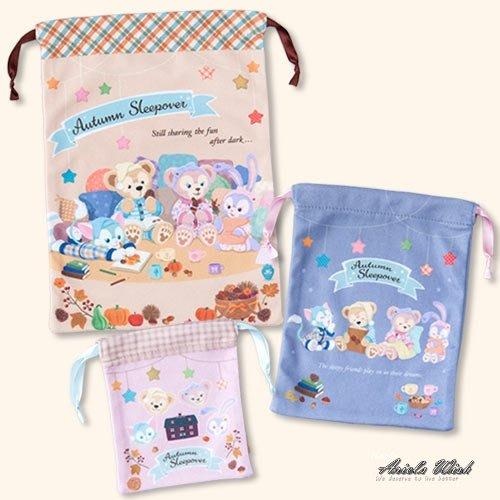 Ariel Wish日本東京迪士尼萬聖節睡衣派對達菲熊Duffy雪莉玫Stella史黛拉兔兔旅行袋收納袋束口袋三入組現貨