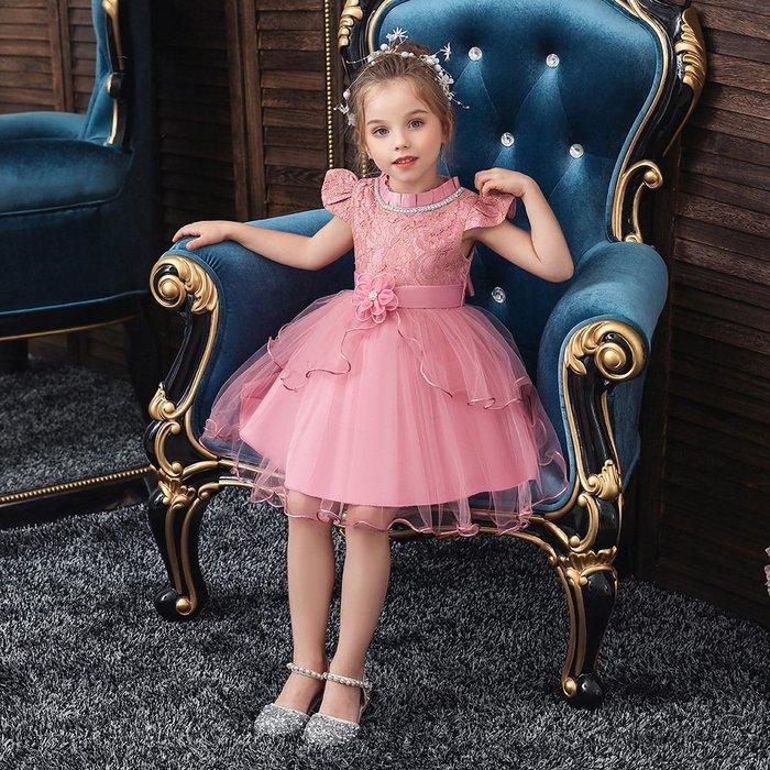 •*~ 辣媽咪衣飾小舖 ~*•❤童裝系列❤K970500韓版大童夏款甜美清新時尚蓬蓬蕾絲亮片可愛公主禮服公主洋裝