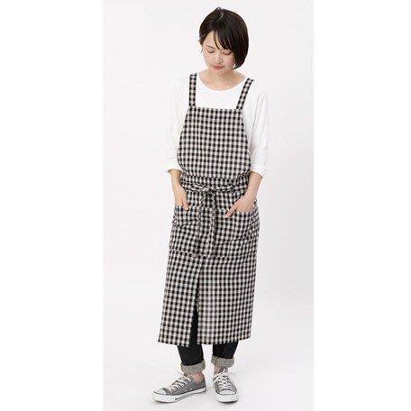發現花園 日本選物~日本製  COCOWALK    雙口袋 格紋  棉麻圍裙  ~黑白格/藍白格