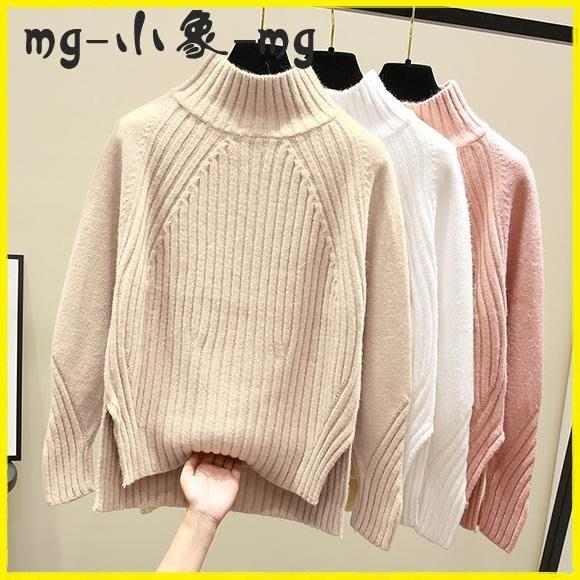 毛衣 半高領打底針織衫女套頭寬鬆內搭加厚開叉短款毛衣