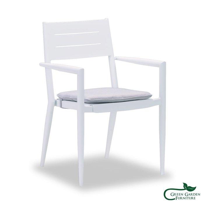 布魯斯 金屬扶手餐椅(含椅墊)【大綠地家具】鋁合金烤漆/金屬家具/戶外休閒椅/含椅墊不挑色