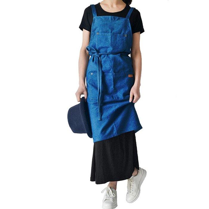 韓風 牛仔圍裙 口袋圍裙 單寧風 廚房圍裙/工作服