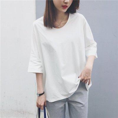 Jomi日系 愜意休閒  V領純色開叉寬鬆顯瘦T恤~3色 ~JM17~RU3995~