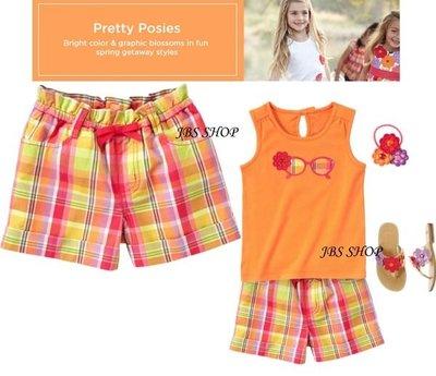 GYMBOREE橘紅綠黃格紋圖案好穿鬆緊帶休閒短褲 3.9yrs **JBS SHOP**