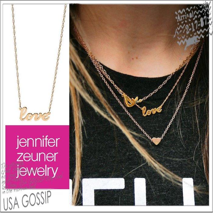 ㊣ 美國八卦小報 ㊣ Jennifer Zeuner 好萊塢女星最愛品牌  love 玫瑰金 鎖骨項鍊 現貨 八八折