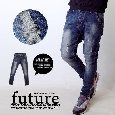 【NB0088J】經典微刷色小抓破小直筒牛仔褲(EZ213-8036)