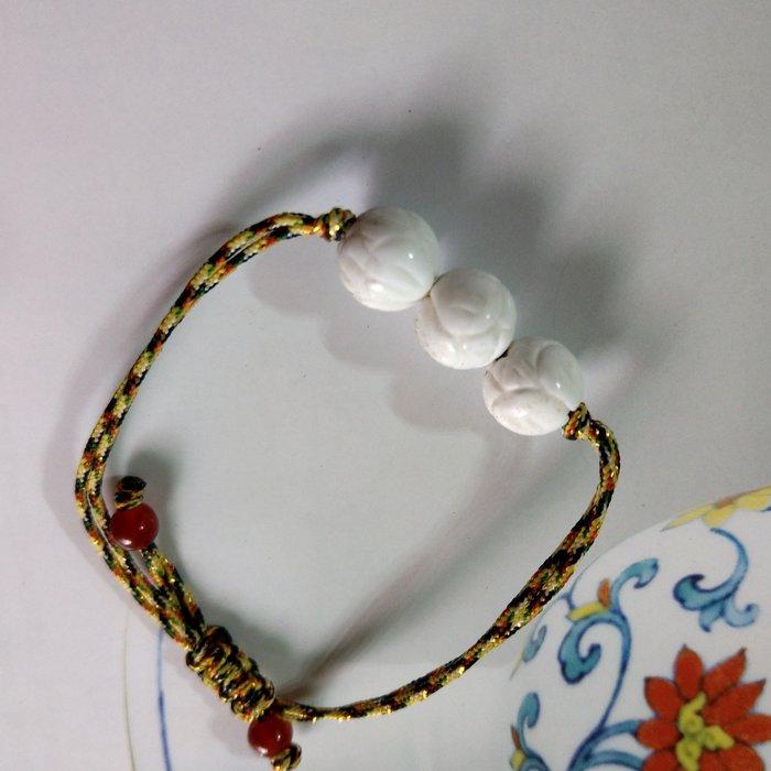 【開運如意閣】31天然有機靈氣寶石 -蓮花硨磲約10mm中國結手鍊-可以調手圍大小-歡迎訂製