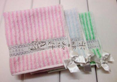 【午後時光】日本Private Label-條紋款銀線刺繡緞帶蝴蝶結手帕/小方巾-3色5893