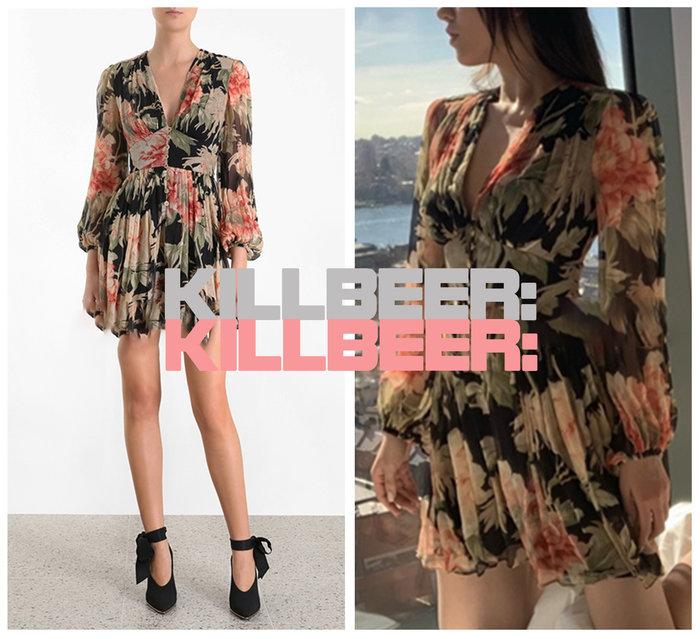 KillBeer:身為名媛的自傲之 歐美復古華麗巴洛克性感V領綻放豔紅花朵印花排扣垂墜雪紡連身褲短褲A072907