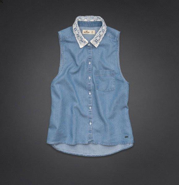 Maple麋鹿小舖 Hollister Co * HCO  牛仔色針織領設計無袖襯衫* ( 現貨L號 )