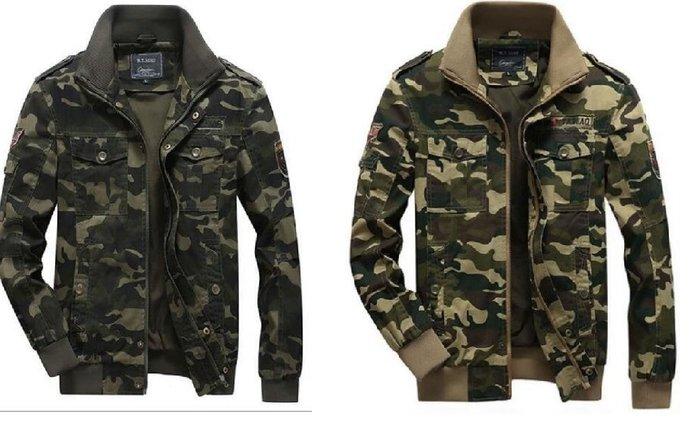 迷彩水洗夾克耐磨男軍裝大碼複古工裝外套 D80