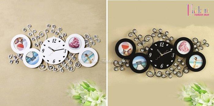 ☆[Hankaro]☆ 歐美流行創意鐵藝木質鑲鑽造型相框時鐘