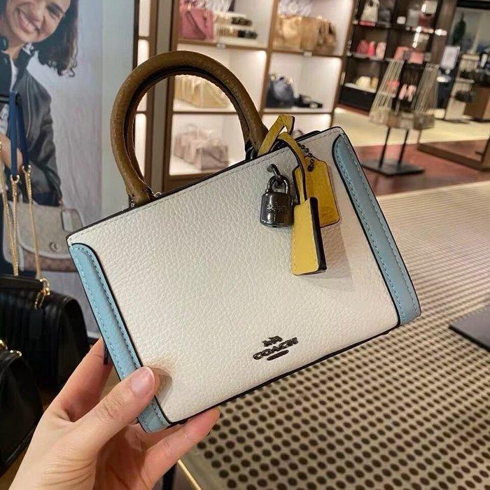 小皮美國代購 COACH 1426 新款女士Zoe迷你手提包 素面拼色方形小包 單肩斜挎包 附購證
