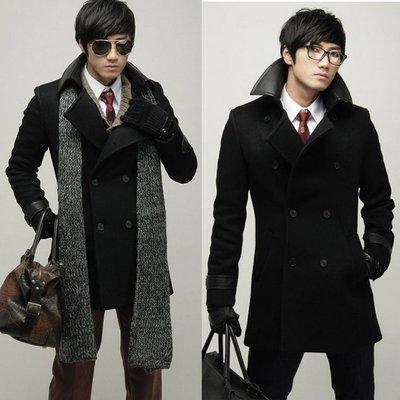 『潮范』 WS08 潮流男裝翻領雙排扣風衣外套 時尚修身PU皮領長大衣 騎士軍裝外套NRB2082
