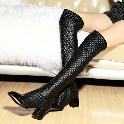 真皮過膝靴 粗跟長靴-歐美時尚菱格紋尖頭女鞋73iv17[獨家進口][米蘭精品]