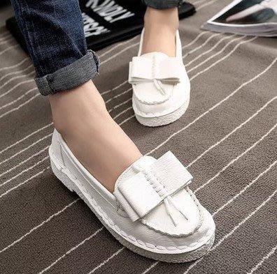2015新款春秋厚底松糕底單鞋蝴蝶結豆豆鞋坡跟水鑽女鞋子春季潮 白色39號