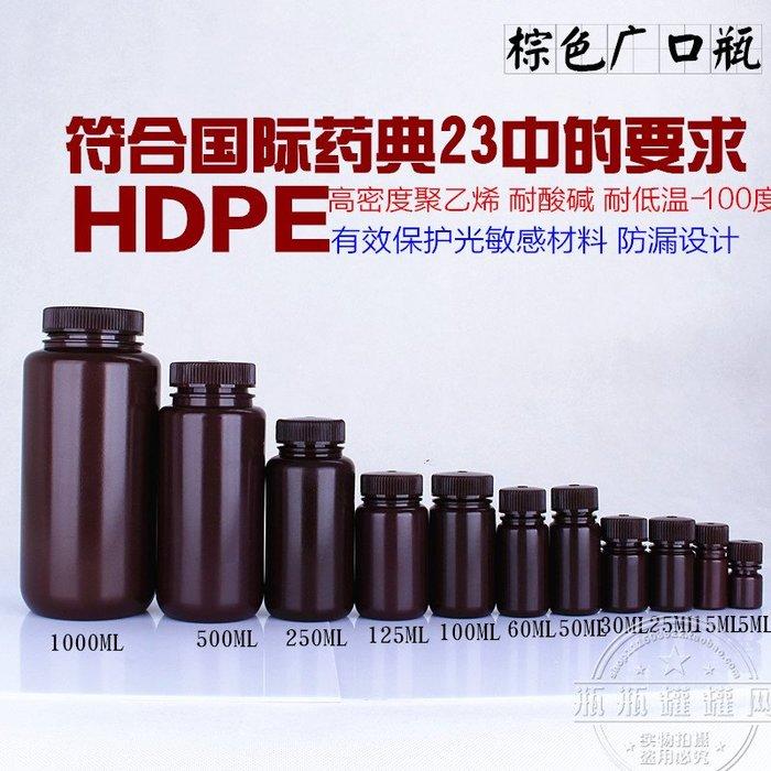 橙子的店 進口棕色廣口瓶密封瓶1升塑料瓶250ml/500ml/1000小瓶子試劑瓶 瓶