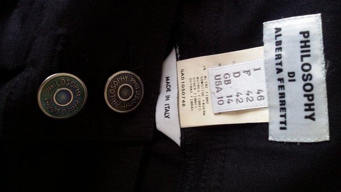 PHILOSOPHY DI ALBERTA FERRETTI黑色文青風前Logo金屬釦拉鍊雙方口袋及膝褶裙