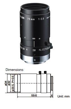 "Ricoh FL-CC7528-2M 2MP 2/3"" 75mm f2.8"