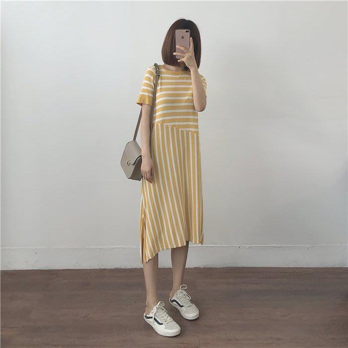 韓版薄針織不規則拼接連身裙
