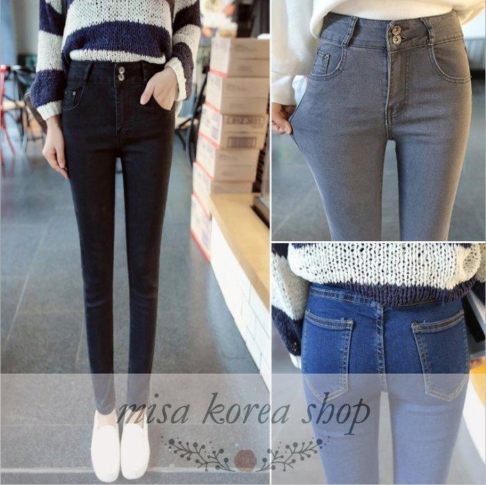 Misa Shop~(熱賣款)韓版高腰顯瘦彈力小腳牛仔褲 YS-071