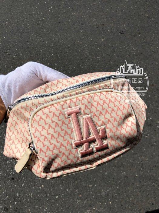 現貨 粉紅色 全新正品 MLB 蔡依林 同款腰包 YANKEES 滿版老花腰包 同款 GUCCI 腰包 洋基LOGO