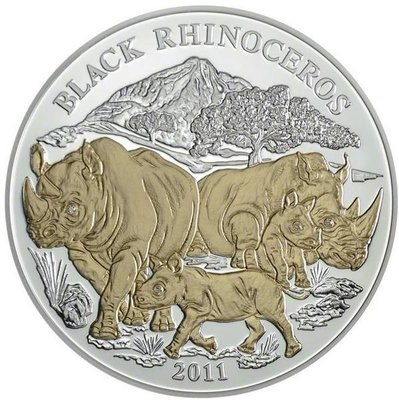 盧安達 紀念幣 2011 3oz 非洲動物紀念銀幣-黑犀牛 原廠