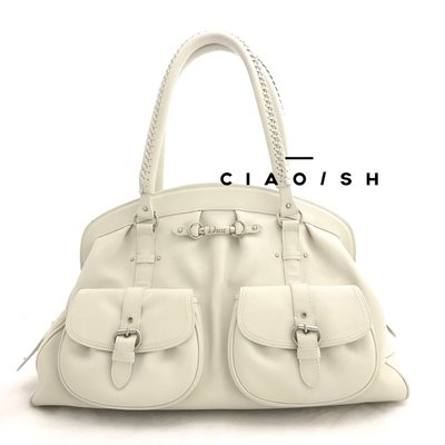 Ciao/SH 名牌精品專賣店 Christian Dior  灰白全皮前雙口袋肩背醫生包