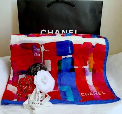 Chanel長方炫彩(65*180)大披巾(🙋全新高價品,亮麗、好搭;贈限量紅色山茶花@1)