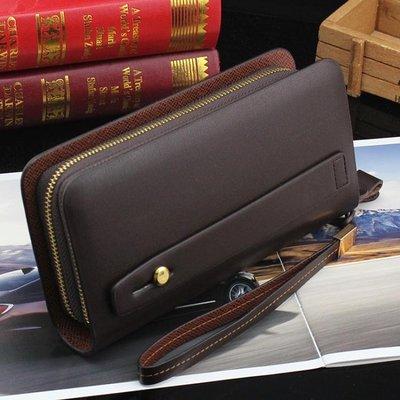 錢包皮夾 新款男士錢包長款雙拉鍊手包男商務軟皮包大容量手抓包手拿包