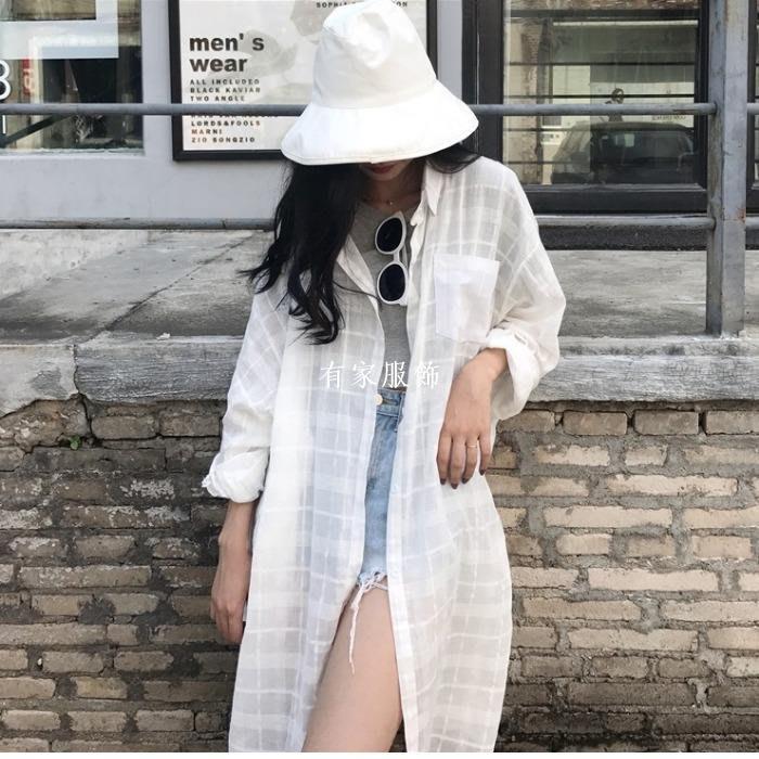 有家服飾夏季女裝新款正韓香港寬松休閒中長款長袖格子襯衣薄款防曬衫外套