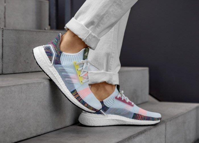 南 2019 11月 Adidas Ultraboost 19 EF3675 彩色 彩虹 透氣 編織 運動鞋 白色慢跑鞋