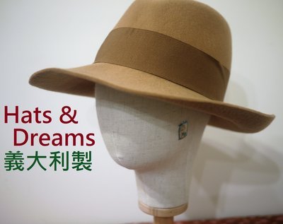 【Hats & Dreams】帽🍑駝色 緞帶 羊毛軟呢帽 仕女氈帽 義大利製