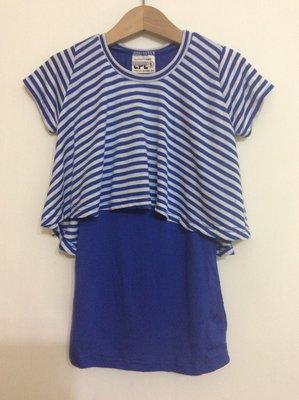 媽媽咪呀~Mamma Mia韓國童裝!過季零碼出清!藍色條紋 假二件式洋裝