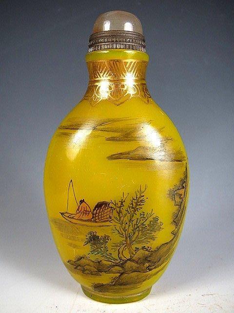 【 金王記拍寶網 】B1234  乾隆款 琉璃民國山水人物紋琉璃鼻煙壺 一件 罕見稀少~