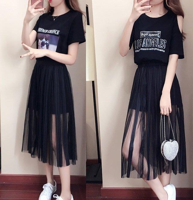 安琪兒╭韓版 學生潮套裝 顯瘦T恤+網紗裙套裝【Y1477】兩件式S~XL韓版時尚顯瘦套裝 學院風洋裝