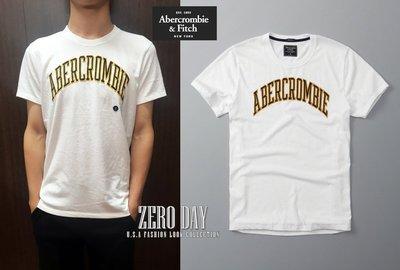【零時差美國時尚網】A&F真品Abercrombie&Fitch Logo Graphic Tee美式字母貼布T-白色