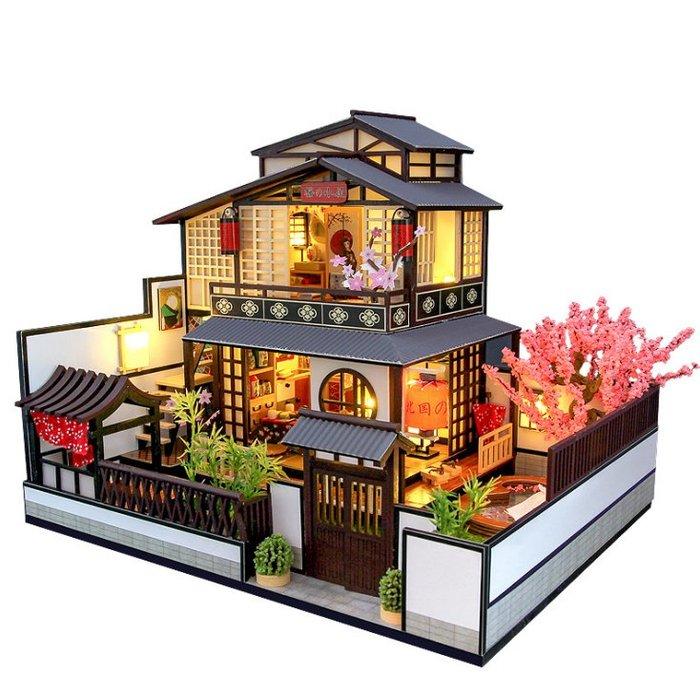 【批貨達人】北國之春 手工拼裝 手作DIY小屋袖珍屋 帶防塵罩 迷你屋 創意小物生日禮物