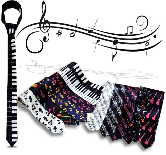 媽咪家【R016】R16音樂領帶 音符 樂譜 鍵盤 吉他 緞面 亮面 窄版 細版 手打 襯衫 領結 結婚 新郎 伴郎