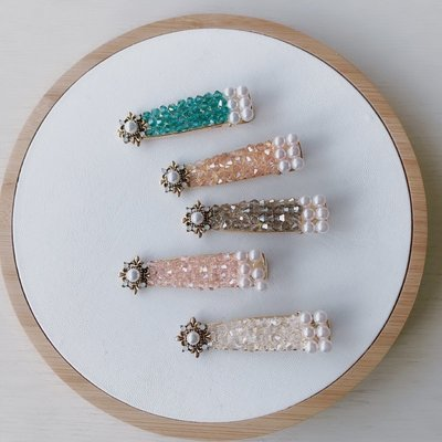 宏美飾品館~韓國東大門新品發飾水晶珍珠發夾甜美簡約百搭超仙氣質網紅一字夾