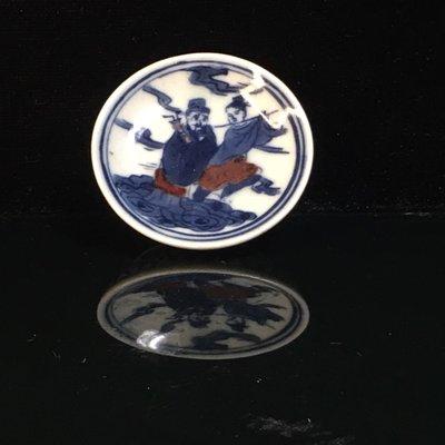 【采芝齋】早期收藏 清代 瓷胎 人物故事 青花釉裡紅 鼻煙碟 (市面少見收藏寶件)
