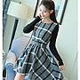 日韓服飾*格紋連身洋裝(送腰帶)*韓國連線...
