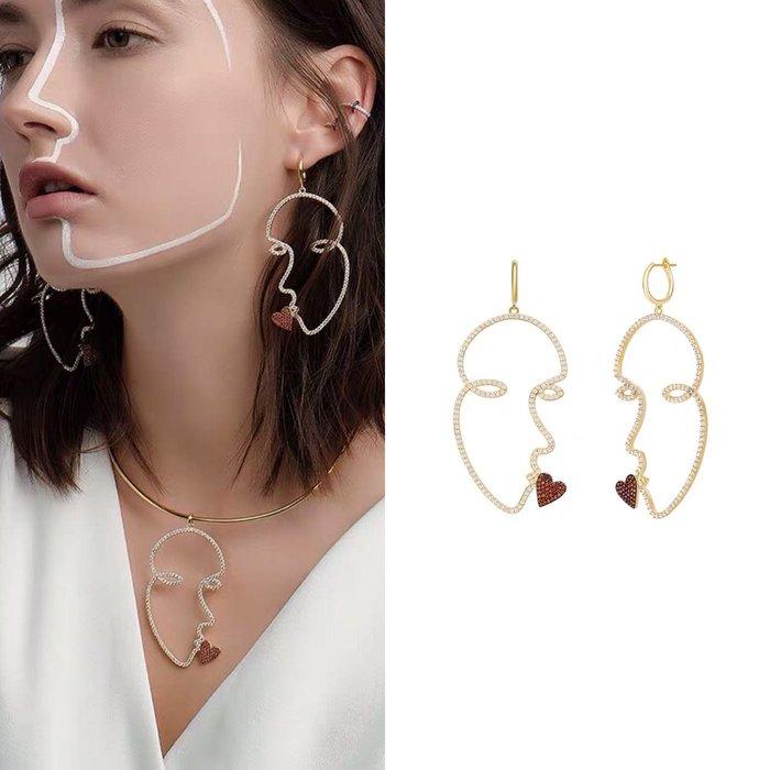 💎1851、告白彩虹高尚時髦抽象臉譜擁吻輕奢耳環💎  精品 耳環 輕奢飾品 正韓飾品 925純銀針
