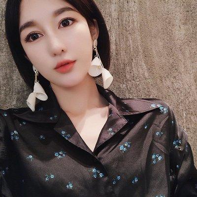 配飾耳環項鏈戒指新款韓國高級感立體花朵耳環女個性長款超仙純銀耳釘網紅氣質耳墜