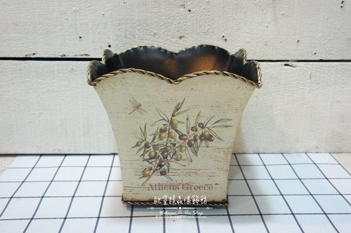 ~*歐室精品傢飾館*~ 鄉村風格 鐵製 貼皮 方形 置物盒 花器 乾燥花 婚禮布置 裝飾 居家 民宿 擺飾~新款上市~