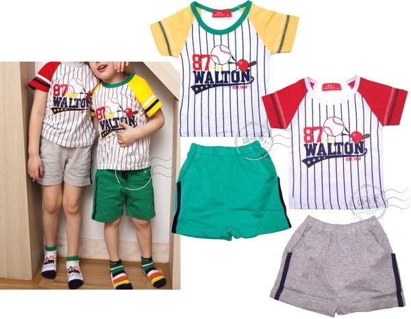 媽咪家【AB087】AB87運動棒球套裝 休閒 居家 套裝 T恤上衣+短褲 套裝2件組~80.90.100.120